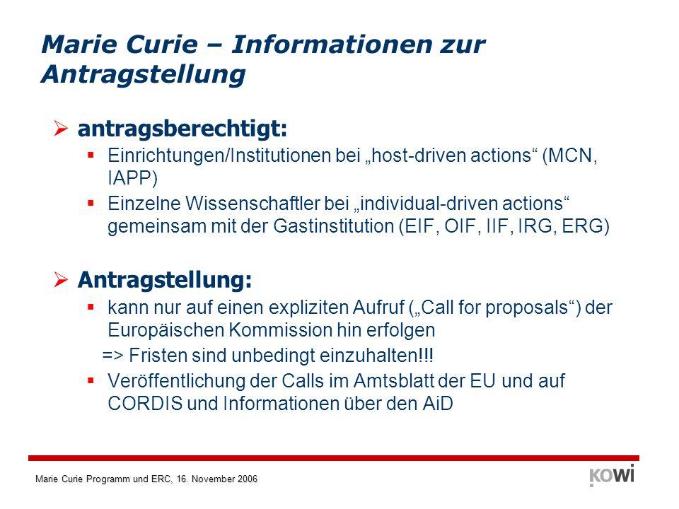 Marie Curie Programm und ERC, 16. November 2006 Marie Curie – Informationen zur Antragstellung antragsberechtigt: Einrichtungen/Institutionen bei host