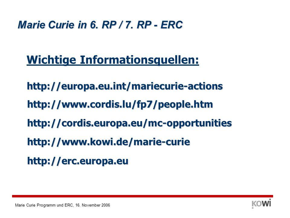 Marie Curie Programm und ERC, 16. November 2006 Marie Curie in 6. RP / 7. RP - ERC Wichtige Informationsquellen: http://europa.eu.int/mariecurie-actio