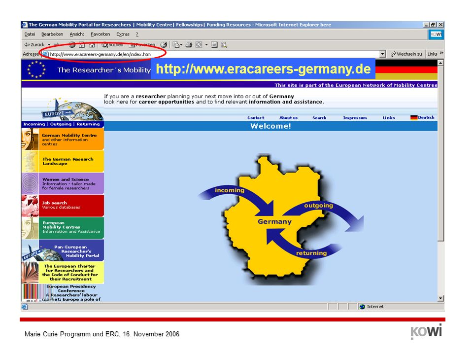 Marie Curie Programm und ERC, 16. November 2006 http://www.eracareers-germany.de