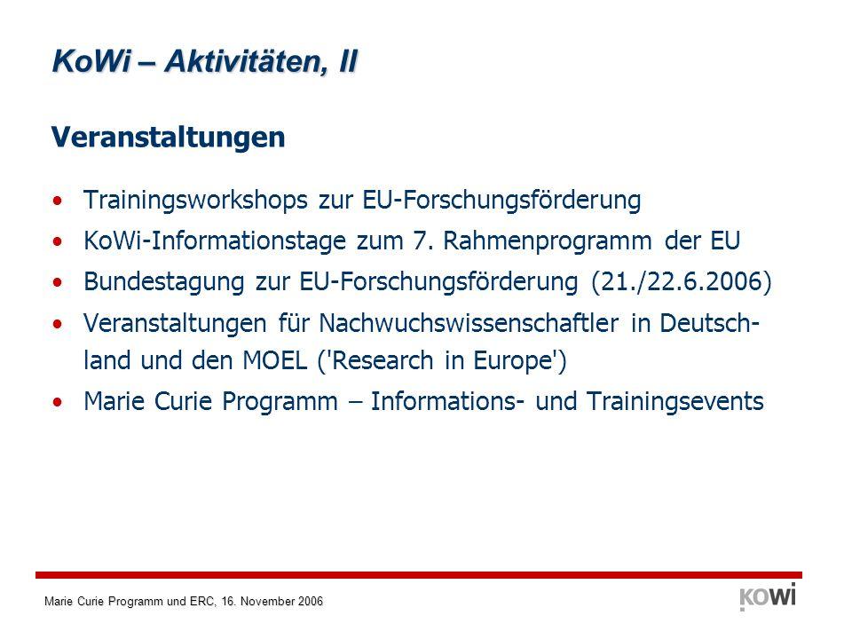Marie Curie Programm und ERC, 16. November 2006 KoWi – Aktivitäten, II Veranstaltungen Trainingsworkshops zur EU-Forschungsförderung KoWi-Informations