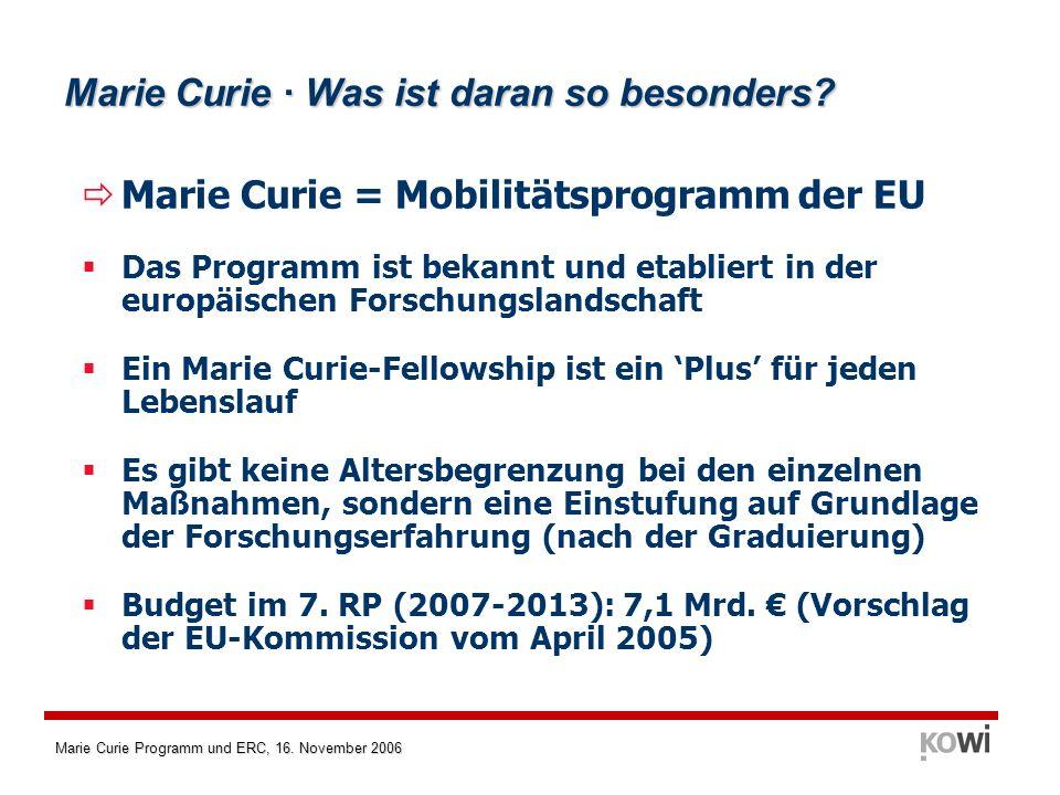 Marie Curie Programm und ERC, 16. November 2006 Marie Curie · Was ist daran so besonders? Marie Curie = Mobilitätsprogramm der EU Das Programm ist bek