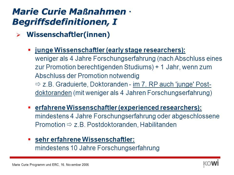 Marie Curie Programm und ERC, 16.November 2006 Vorläufer der MCN im 6.