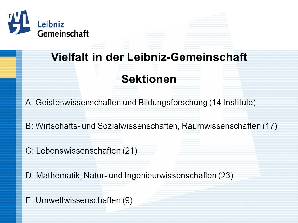 A: Geisteswissenschaften und Bildungsforschung (14 Institute) B: Wirtschafts- und Sozialwissenschaften, Raumwissenschaften (17) C: Lebenswissenschafte