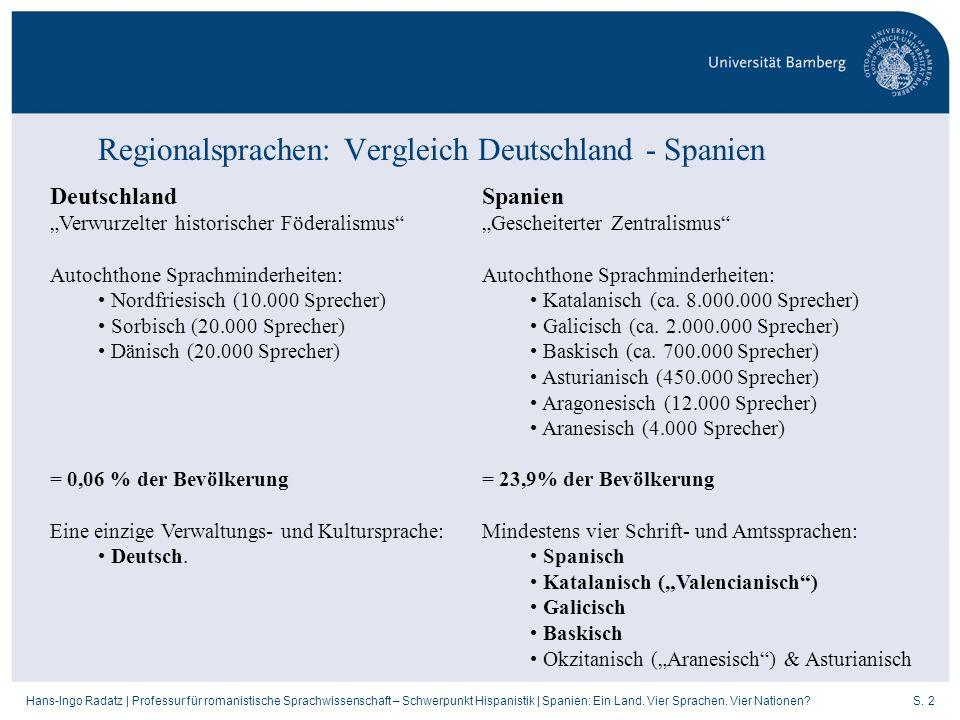 S. 2Hans-Ingo Radatz   Professur für romanistische Sprachwissenschaft – Schwerpunkt Hispanistik   Spanien: Ein Land. Vier Sprachen. Vier Nationen? Reg