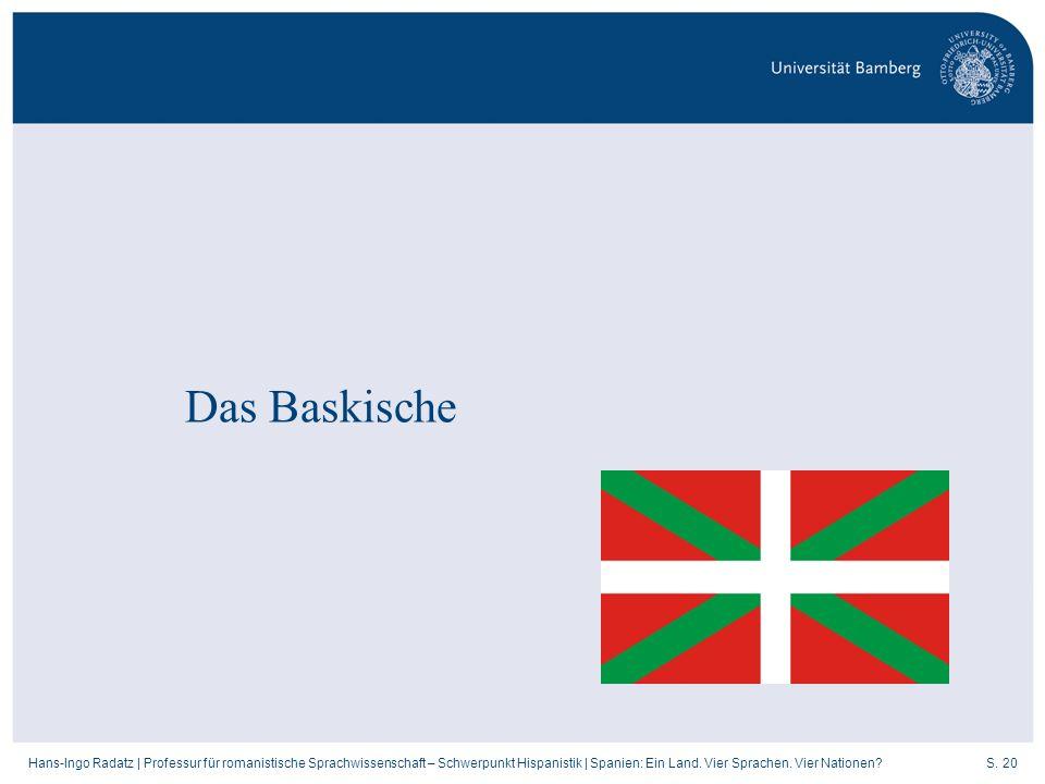 S. 20Hans-Ingo Radatz   Professur für romanistische Sprachwissenschaft – Schwerpunkt Hispanistik   Spanien: Ein Land. Vier Sprachen. Vier Nationen? Da