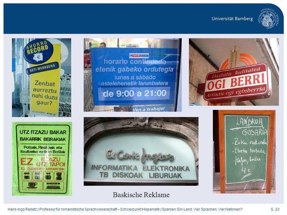 S. 23Hans-Ingo Radatz   Professur für romanistische Sprachwissenschaft – Schwerpunkt Hispanistik   Spanien: Ein Land. Vier Sprachen. Vier Nationen? Ba
