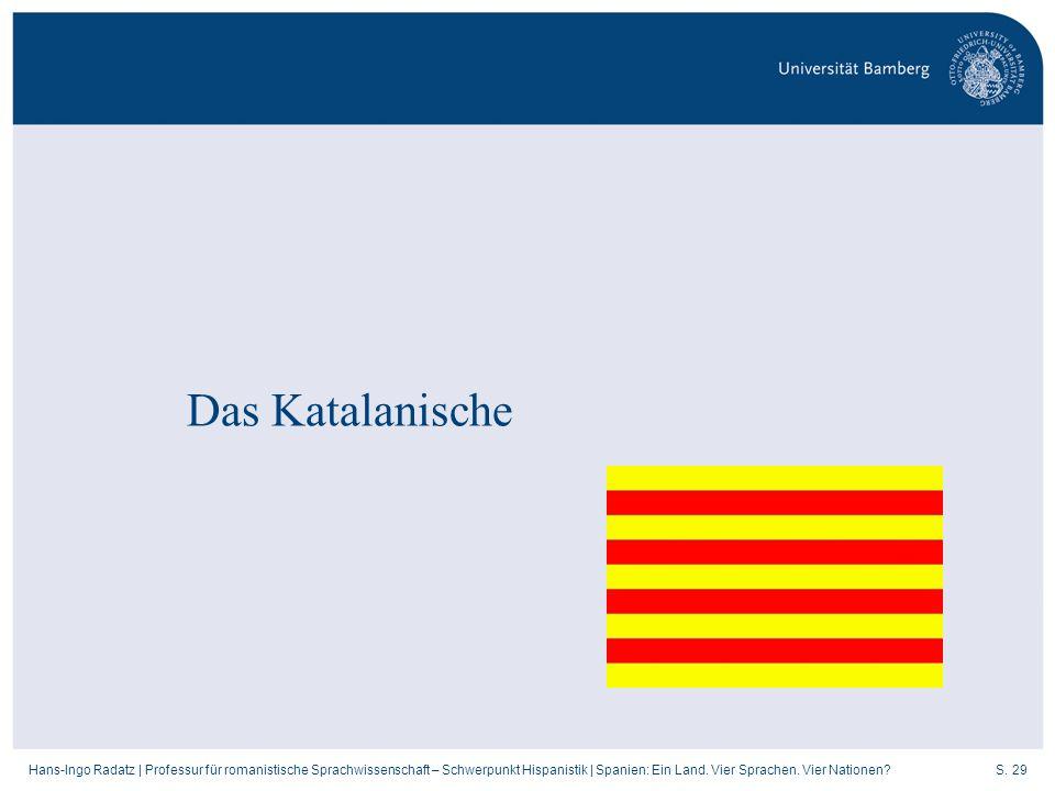 S. 29Hans-Ingo Radatz   Professur für romanistische Sprachwissenschaft – Schwerpunkt Hispanistik   Spanien: Ein Land. Vier Sprachen. Vier Nationen? Da