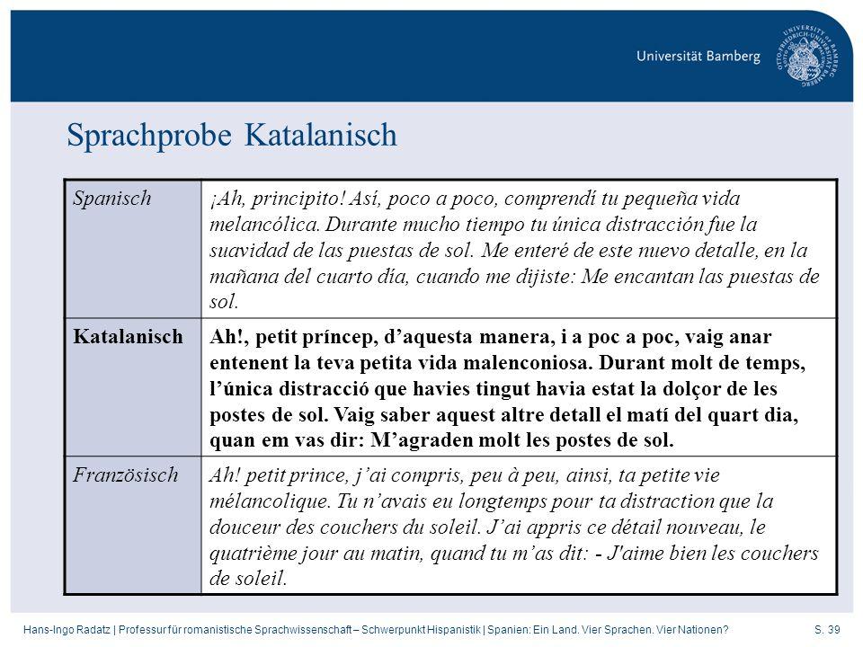 S. 39Hans-Ingo Radatz   Professur für romanistische Sprachwissenschaft – Schwerpunkt Hispanistik   Spanien: Ein Land. Vier Sprachen. Vier Nationen? Sp