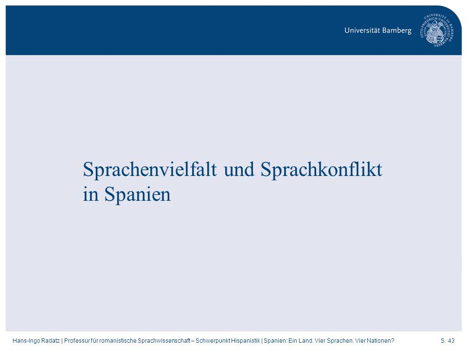 S. 43Hans-Ingo Radatz   Professur für romanistische Sprachwissenschaft – Schwerpunkt Hispanistik   Spanien: Ein Land. Vier Sprachen. Vier Nationen? Sp