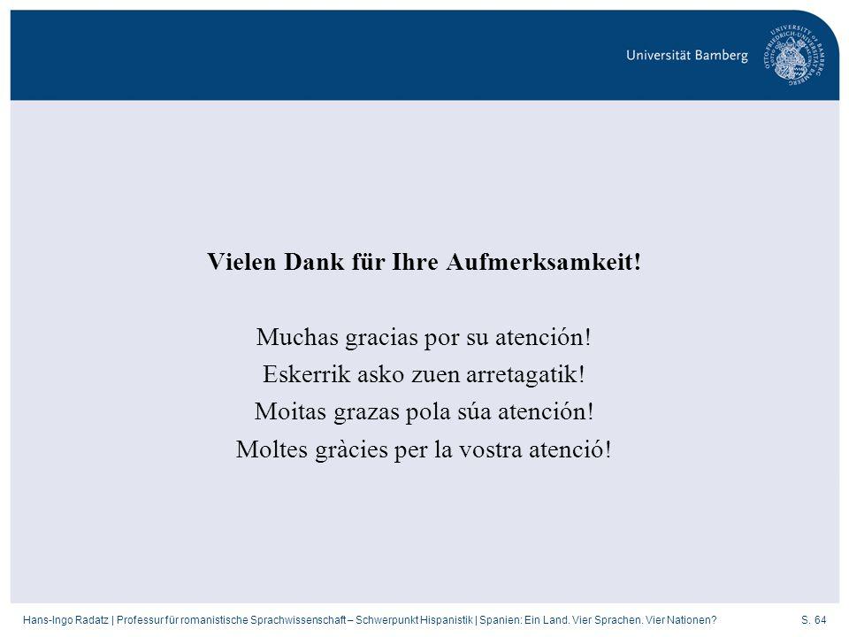 S. 64Hans-Ingo Radatz   Professur für romanistische Sprachwissenschaft – Schwerpunkt Hispanistik   Spanien: Ein Land. Vier Sprachen. Vier Nationen? Vi