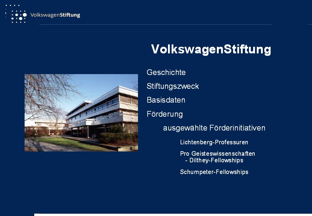Pro Geisteswissenschaften: gemeinsame Initiative der VolkswagenStiftung und der Fritz Thyssen Stiftung Förderumfang: Laufzeit zunächst 5 Jahre, nach positiver Evaluation Verlängerung um 3 bis 5 Jahre jährlichbis zu 80.000 EUR inkl.