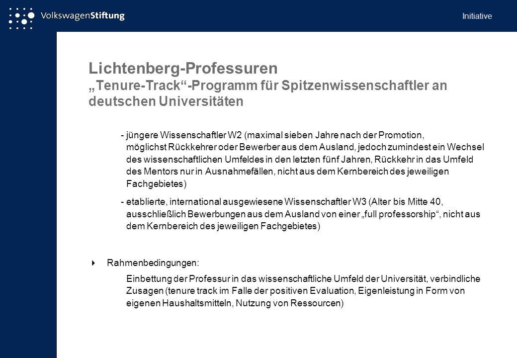 Lichtenberg-Professuren Tenure-Track-Programm für Spitzenwissenschaftler an deutschen Universitäten -jüngere Wissenschaftler W2 (maximal sieben Jahre