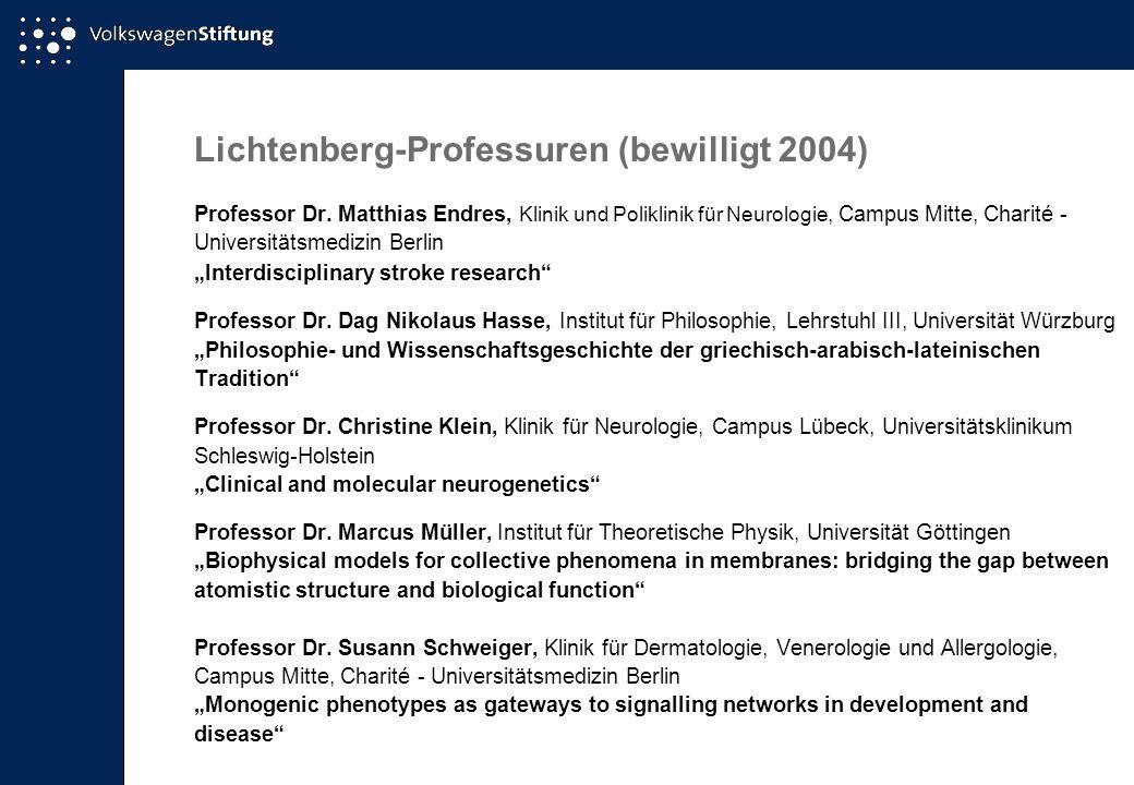 Lichtenberg-Professuren (bewilligt 2004) Professor Dr. Matthias Endres, Klinik und Poliklinik für Neurologie, Campus Mitte, Charité - Universitätsmedi