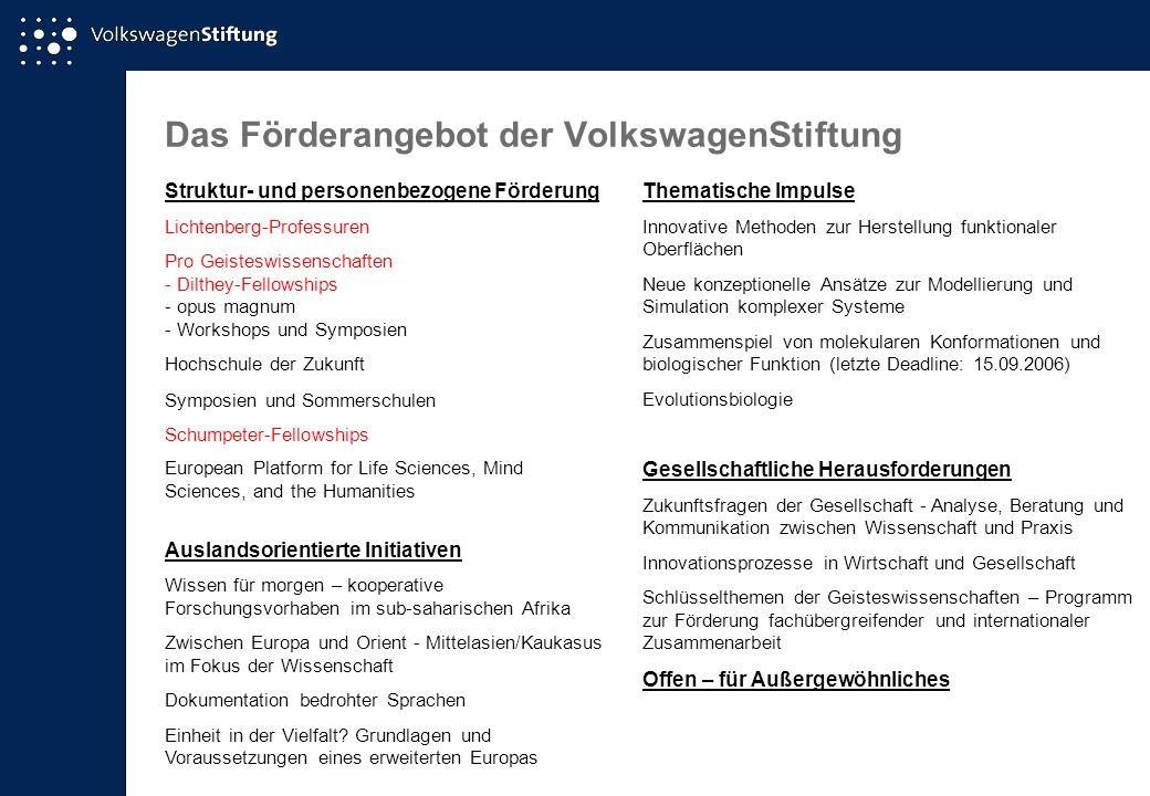 Ausgewählte Förderinitiativen der VolkswagenStiftung