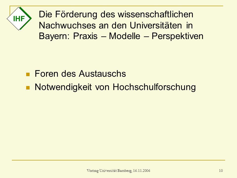 Vortrag Universität Bamberg, 16.11.2006 10 Die Förderung des wissenschaftlichen Nachwuchses an den Universitäten in Bayern: Praxis – Modelle – Perspek