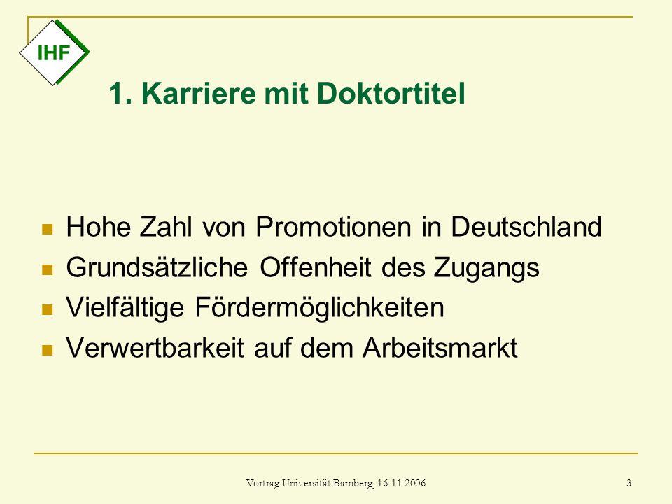 Vortrag Universität Bamberg, 16.11.2006 3 1. Karriere mit Doktortitel Hohe Zahl von Promotionen in Deutschland Grundsätzliche Offenheit des Zugangs Vi