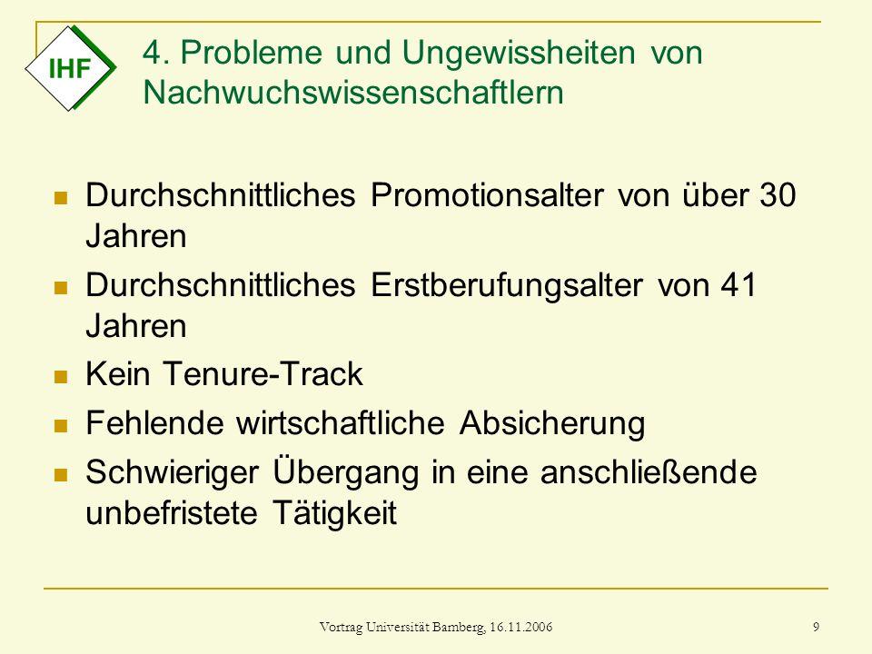 Vortrag Universität Bamberg, 16.11.2006 9 4. Probleme und Ungewissheiten von Nachwuchswissenschaftlern Durchschnittliches Promotionsalter von über 30