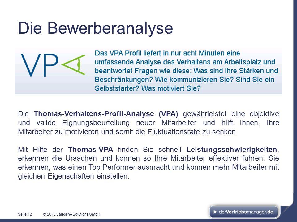 © 2013 Salesline Solutions GmbHSeite 12 Die Thomas-Verhaltens-Profil-Analyse (VPA) gewährleistet eine objektive und valide Eignungsbeurteilung neuer M