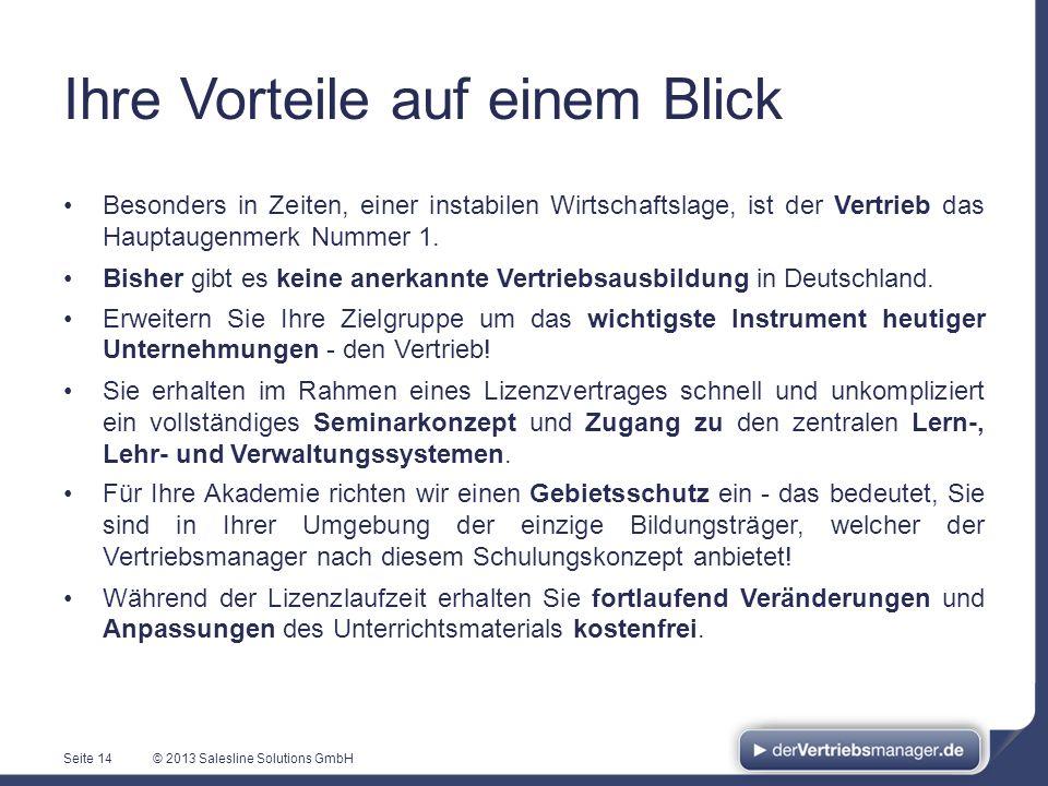 © 2013 Salesline Solutions GmbH Ihre Vorteile auf einem Blick Besonders in Zeiten, einer instabilen Wirtschaftslage, ist der Vertrieb das Hauptaugenme