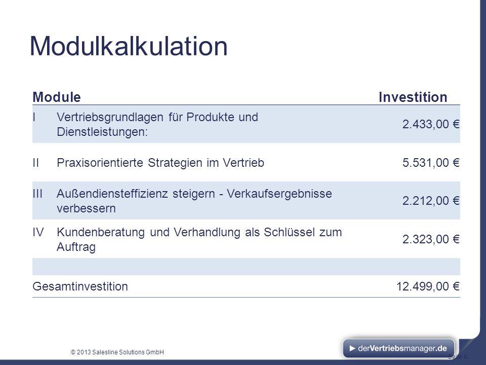 © 2013 Salesline Solutions GmbH Seite 6 ModuleInvestition I Vertriebsgrundlagen für Produkte und Dienstleistungen: 2.433,00 II Praxisorientierte Strat