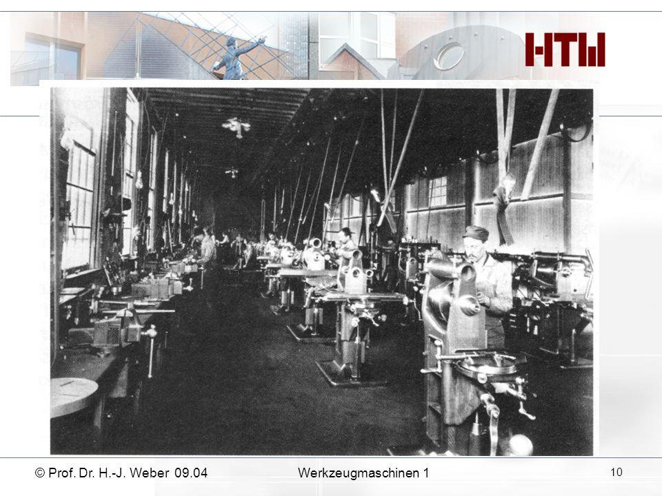 11 Werkzeugmaschinen 1© Prof. Dr. H.-J. Weber 09.04