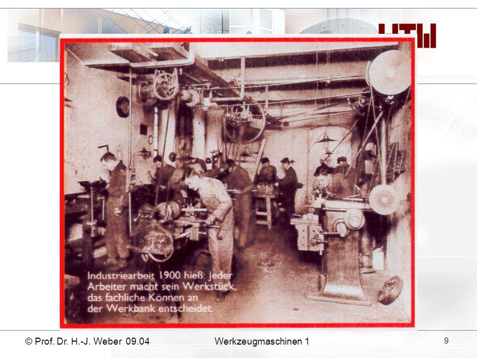 10 Werkzeugmaschinen 1© Prof. Dr. H.-J. Weber 09.04