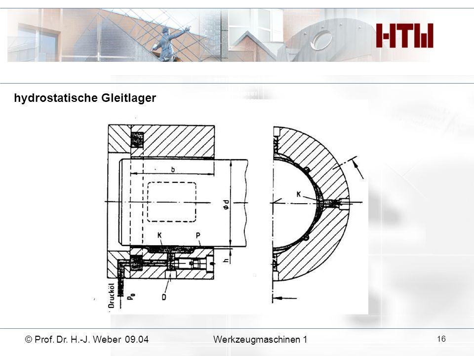 © Prof. Dr. H.-J. Weber 09.04Werkzeugmaschinen 1 16 hydrostatische Gleitlager