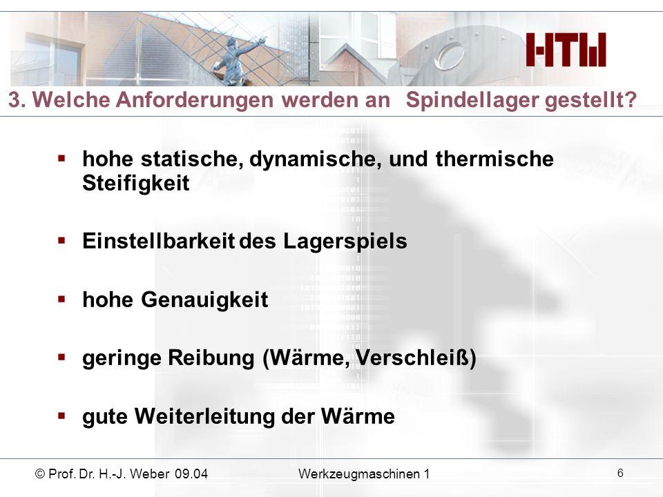 © Prof. Dr. H.-J. Weber 09.04Werkzeugmaschinen 1 17 Wälzlager