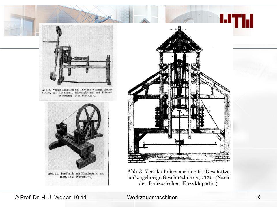 © Prof. Dr. H.-J. Weber 10.11Werkzeugmaschinen 18