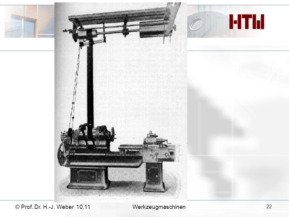 © Prof. Dr. H.-J. Weber 10.11Werkzeugmaschinen 22