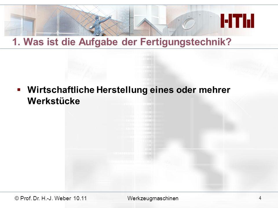 © Prof. Dr. H.-J. Weber 10.11Werkzeugmaschinen 25