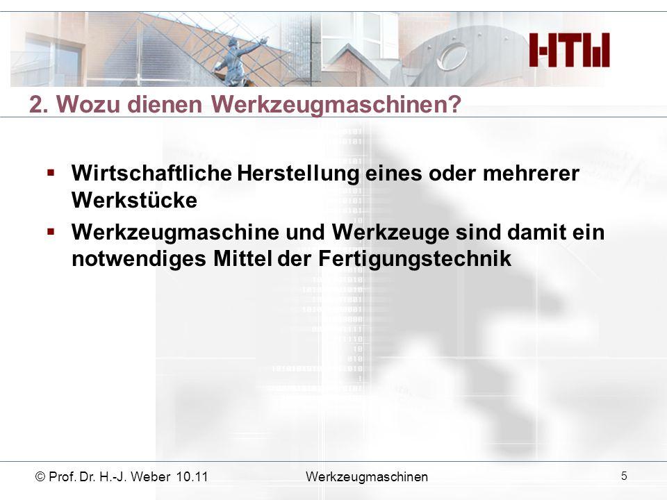3. Wie hat sich die Wkzm historisch entwickelt? © Prof. Dr. H.-J. Weber 10.11Werkzeugmaschinen 6