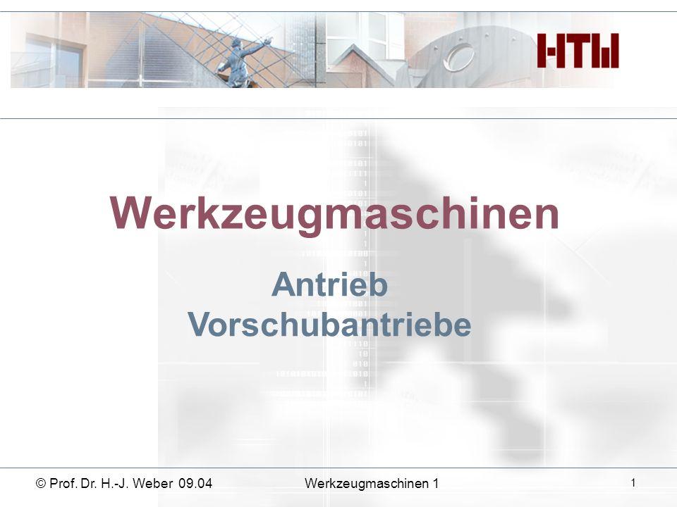 Werkzeugmaschinen Antrieb Vorschubantriebe © Prof. Dr. H.-J. Weber 09.04Werkzeugmaschinen 1 1