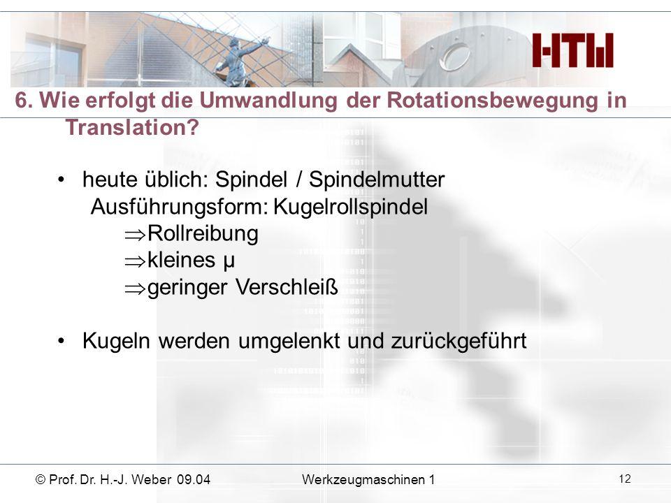 6. Wie erfolgt die Umwandlung der Rotationsbewegung in Translation? heute üblich: Spindel / Spindelmutter Ausführungsform: Kugelrollspindel Rollreibun