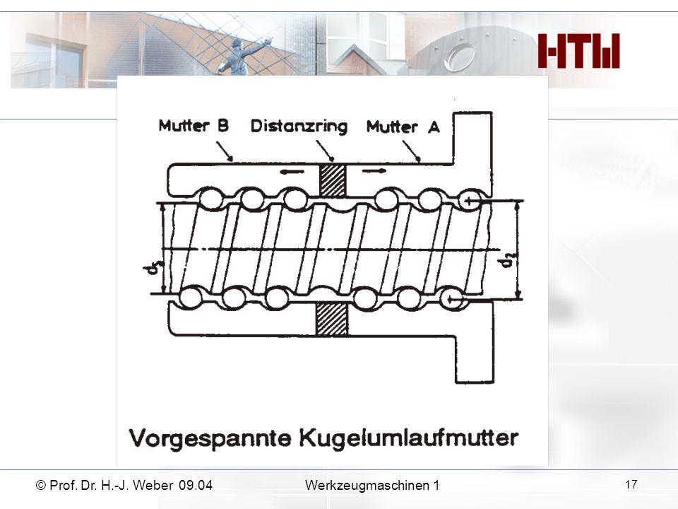 © Prof. Dr. H.-J. Weber 09.04Werkzeugmaschinen 1 17