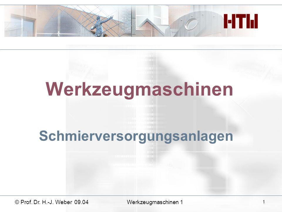 Werkzeugmaschinen Schmierversorgungsanlagen © Prof. Dr. H.-J. Weber 09.04Werkzeugmaschinen 1 1