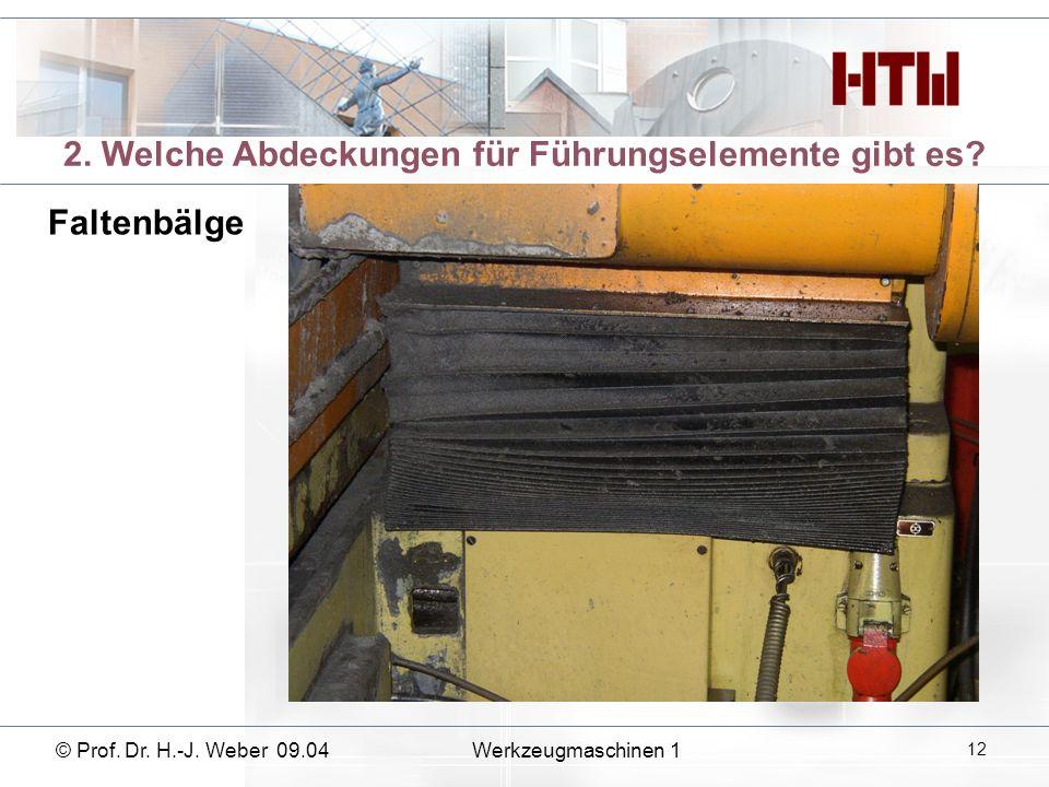 2. Welche Abdeckungen für Führungselemente gibt es? Faltenbälge © Prof. Dr. H.-J. Weber 09.04Werkzeugmaschinen 1 12