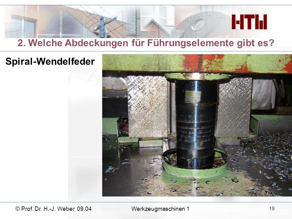 2. Welche Abdeckungen für Führungselemente gibt es? Spiral-Wendelfeder © Prof. Dr. H.-J. Weber 09.04Werkzeugmaschinen 1 19