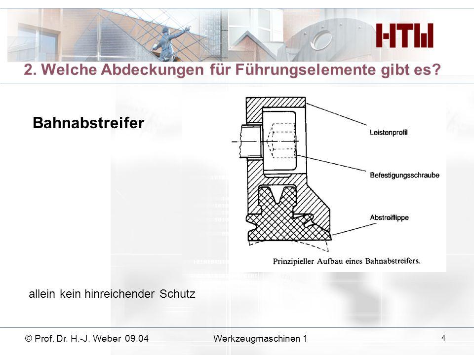© Prof. Dr. H.-J. Weber 09.04Werkzeugmaschinen 1 15