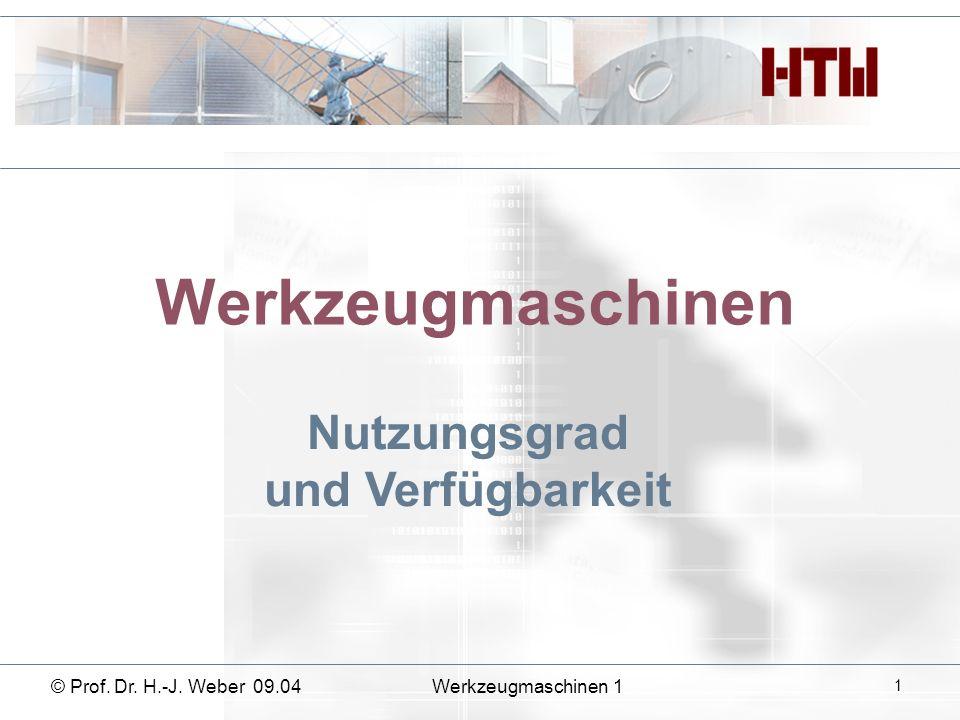 Werkzeugmaschinen Nutzungsgrad und Verfügbarkeit © Prof. Dr. H.-J. Weber 09.04Werkzeugmaschinen 1 1