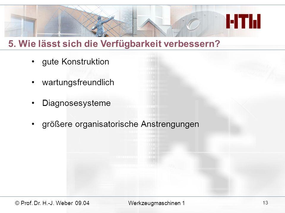 5. Wie lässt sich die Verfügbarkeit verbessern? gute Konstruktion wartungsfreundlich Diagnosesysteme größere organisatorische Anstrengungen © Prof. Dr