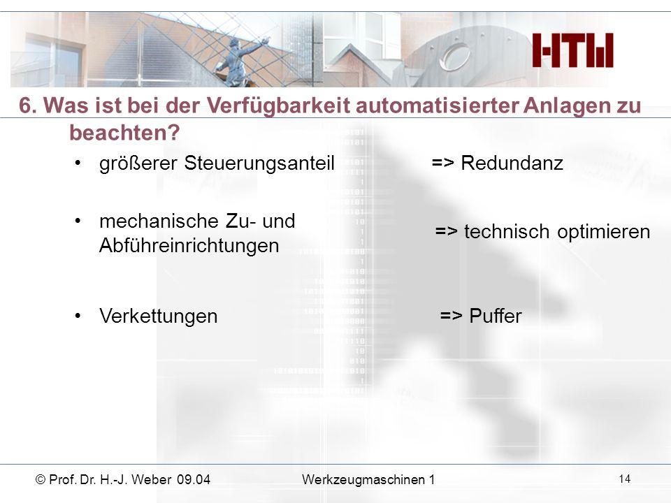 6. Was ist bei der Verfügbarkeit automatisierter Anlagen zu beachten? größerer Steuerungsanteil=> Redundanz mechanische Zu- und Abführeinrichtungen =>