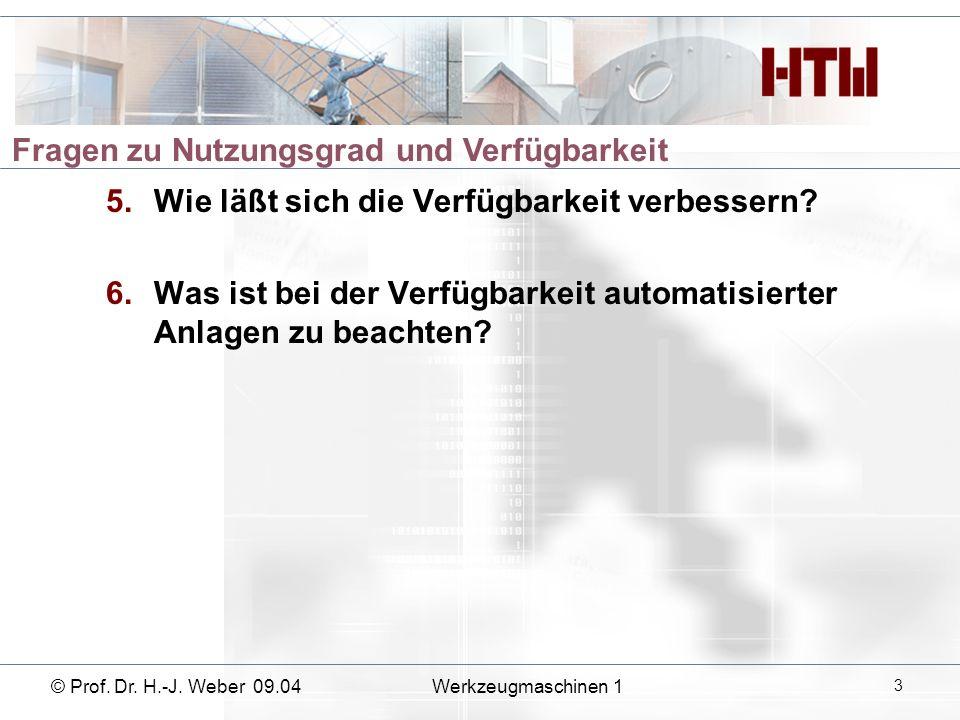 5.Wie läßt sich die Verfügbarkeit verbessern? 6.Was ist bei der Verfügbarkeit automatisierter Anlagen zu beachten? © Prof. Dr. H.-J. Weber 09.04Werkze