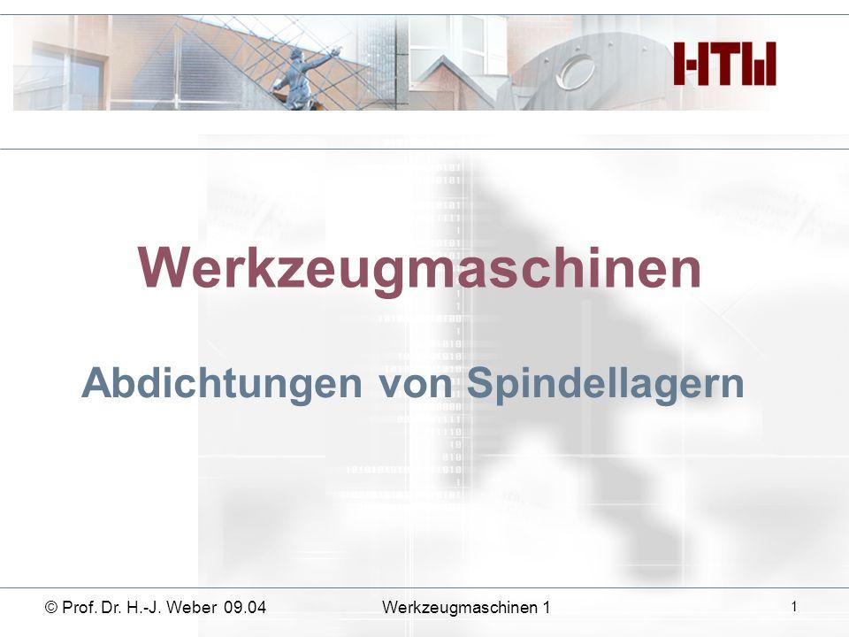 Werkzeugmaschinen Abdichtungen von Spindellagern © Prof. Dr. H.-J. Weber 09.04Werkzeugmaschinen 1 1