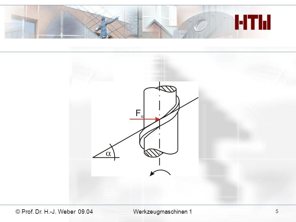 © Prof. Dr. H.-J. Weber 09.04Werkzeugmaschinen 1 26