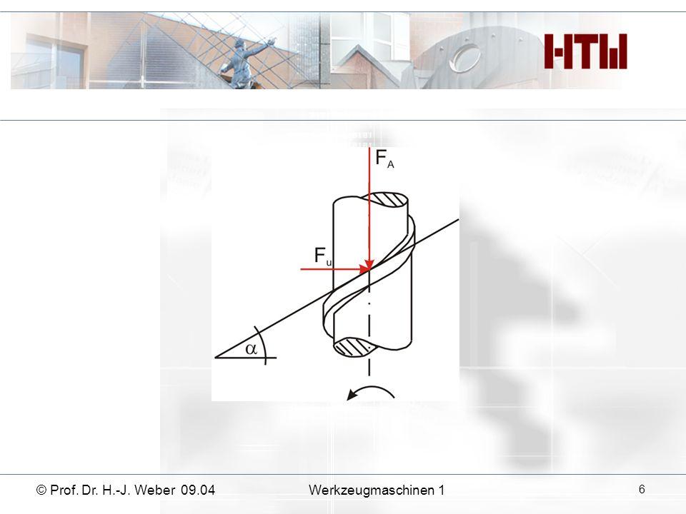 © Prof. Dr. H.-J. Weber 09.04Werkzeugmaschinen 1 27