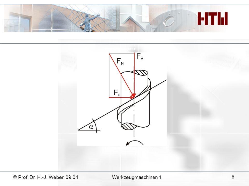 © Prof. Dr. H.-J. Weber 09.04Werkzeugmaschinen 1 9