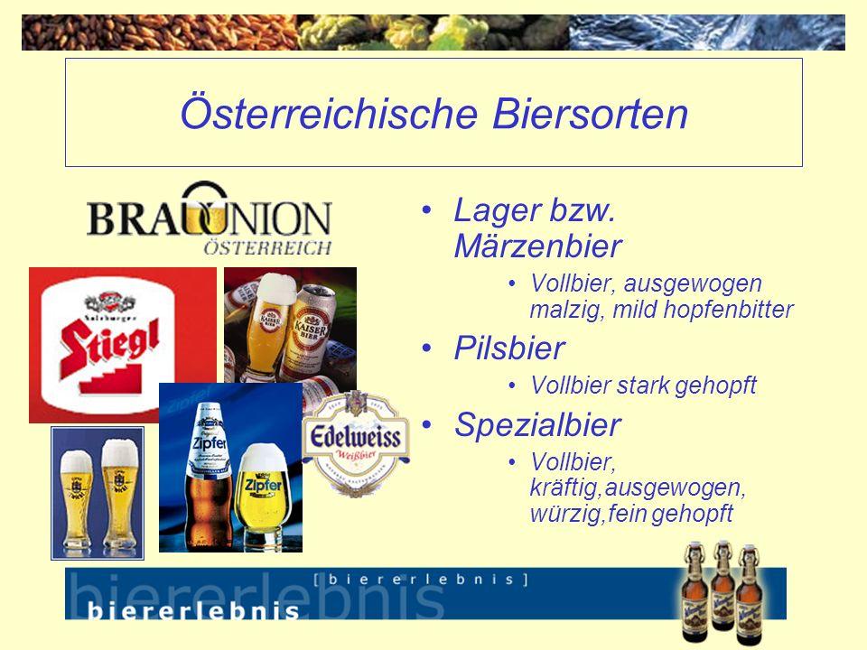 Österreichische Biersorten Lager bzw. Märzenbier Vollbier, ausgewogen malzig, mild hopfenbitter Pilsbier Vollbier stark gehopft Spezialbier Vollbier,