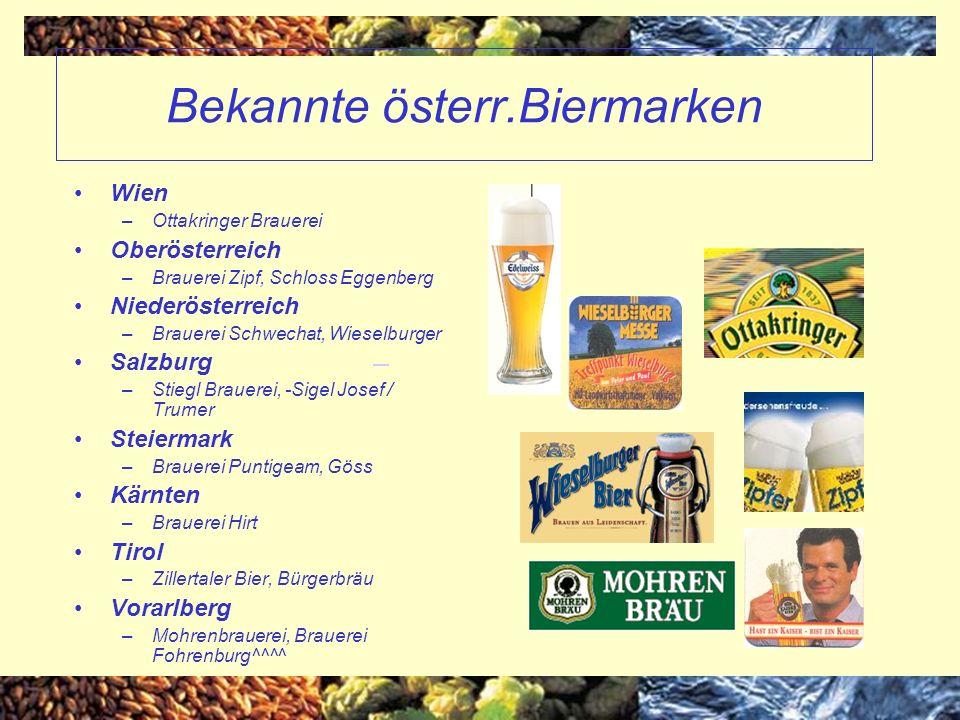 Bekannte österr.Biermarken Wien –Ottakringer Brauerei Oberösterreich –Brauerei Zipf, Schloss Eggenberg Niederösterreich –Brauerei Schwechat, Wieselbur