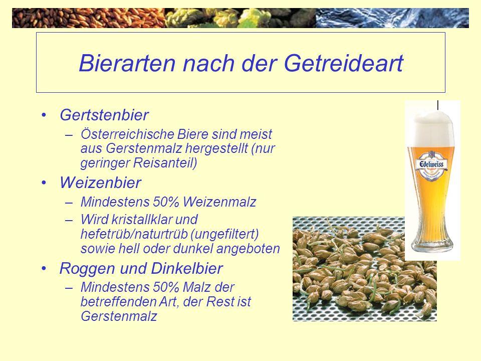 Bierarten nach der Getreideart Gertstenbier –Österreichische Biere sind meist aus Gerstenmalz hergestellt (nur geringer Reisanteil) Weizenbier –Mindes